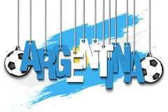 Banner the inscription Argentina. And ball hang on the ropes on the background of the Argentina flag. Vector illustration Royalty Free Stock Photo