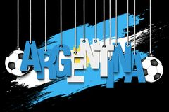 Banner the inscription Argentina. And ball hang on the ropes on the background of the Argentina flag. Vector illustration Royalty Free Stock Images