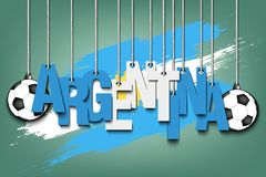 Banner the inscription Argentina. And ball hang on the ropes on the background of the Argentina flag. Vector illustration Stock Images