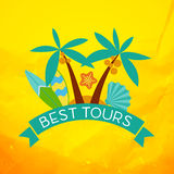 Banner with the inscription best tours, palm trees stock illustration