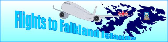 Banner with the inscription Flights to Falkland Islands. On a blue background Royalty Free Stock Photos