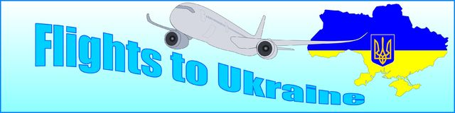Banner with the inscription Flights to Ukraine Stock Photography