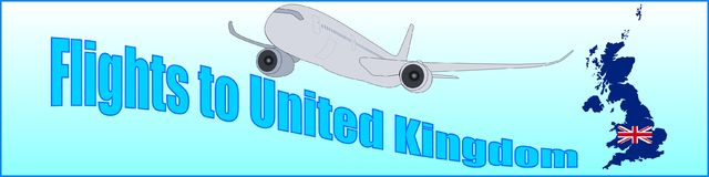 Banner with the inscription Flights to United Kingdom Stock Images