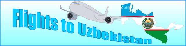 Banner with the inscription Flights to Uzbekistan Stock Images