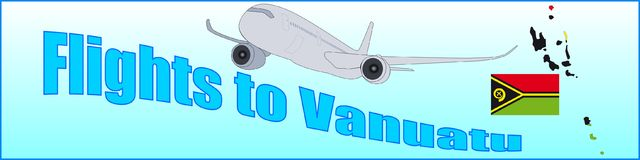 Banner with the inscription Flights to Vanuatu Royalty Free Stock Photography