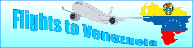 Banner with the inscription Flights to Venezuela Stock Image