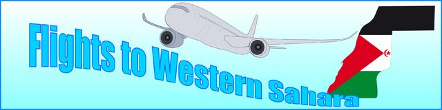 Banner with the inscription Flights to Western Sahara Royalty Free Stock Image