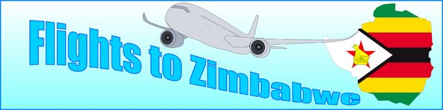 Banner with the inscription Flights to Zimbabwe Royalty Free Stock Photos