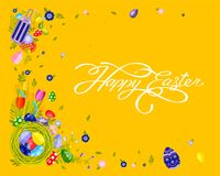 Banner inscription hand lettering calligraphy Happy Easter nest with colored eggs, spring tulip yellow background Stock Image