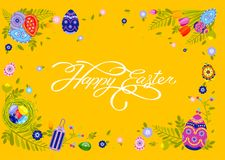 Banner inscription hand lettering calligraphy Happy Easter nest with colored eggs, spring tulip yellow background Royalty Free Stock Image