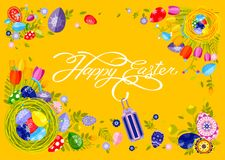 Banner inscription hand lettering calligraphy Happy Easter nest with colored eggs, spring tulip yellow background Stock Images