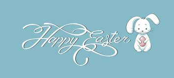 Banner inscription, hand lettering, calligraphy, typography Happy Easter bunny blue background Stock Photo