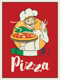 Banner with inscription Pizza and winking chef Stock Photos