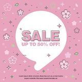 Banner sale of 90 off. Last Spring sale. Banner with the inscription about the sale of 90 off. Last Spring sale, flowers, bubble Stock Images