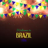 Banner with inscription Welcome to Brazil. Background with fireworks and with a garland from Brazil flag colors. Invitation to games in Rio de Janeiro, vector Stock Images