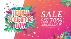 Banner for the International Happy Women`s Day. Flyer for sale March 8 with the decor of floral. Design horiznotal W. Eb offer with a pattern flowers for stock illustration