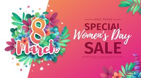 Banner for the International Happy Women`s Day. Flyer for sale March 8 with the decor of flowers. Design Web offer wi. Th a pattern of spring leaves and flowers vector illustration