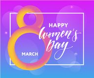 Banner for the International Women's Day. Flyer for March 8 with the decor of flowers. Invitations with the number 8 stock illustration