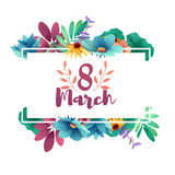 Banner for the International Women`s Day. Flyer for March 8 with the decor of flowers. Invitations with the number 8 in. The style of cut paper with a pattern Stock Image