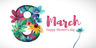 Banner for the International Women`s Day. Flyer for March 8 with the decor of flowers. Invitations with the number 8 in vector illustration