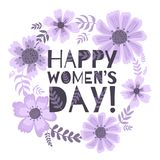 Banner of the International Women`s Day. Postcard on March 8 with a decor of flowers, plants and leaves. stock illustration