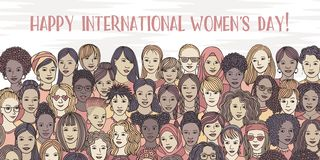 Banner for international women`s day stock images
