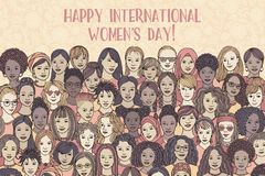 Banner for international women`s day stock photo