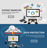 Banner for internet marketing and data protection. vector illustration