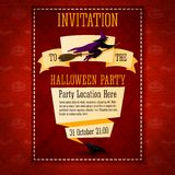 Banner invitation to the halloween party with. Witch on top and place for your party description and location, on the ribbon Royalty Free Stock Image