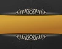 Banner islam ethnic design. Gold Invitation vintage label frame. Blank sticker emblem. Eastern black illustration for Royalty Free Stock Photo
