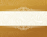 Banner islam ethnic design. Gold Invitation vintage label frame. Blank sticker emblem. Eastern white illustration for Stock Images