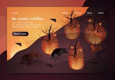 Banner Isometric is Written Be Careful Wildfire. Animals Flee Burning Forest. Wildfire Destroys Plants and Earth. Animals Suffer From Natural Disaster. Vector stock illustration