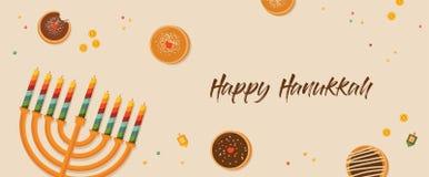 Banner for Jewish holiday. Hanukkah traditional dougnuts and menora Royalty Free Stock Image