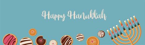 Banner for Jewish holiday. Hanukkah traditional dougnuts and menora Royalty Free Stock Photography