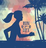 Banner for jogging on the beach Stock Photos