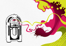 Banner with jukebox. Designed stylized banner with jukebox royalty free illustration