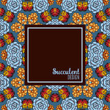 Banner with a kaleidoscope of succulents in style hand drawing. Royalty Free Stock Images