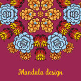 Banner with a kaleidoscope of succulents in style hand drawing. Royalty Free Stock Photos