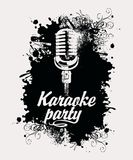 Banner for karaoke party with mic and inscription stock illustration