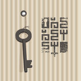Banner with key. Vector banner with key on a background of corrugated cardboard Royalty Free Stock Photos