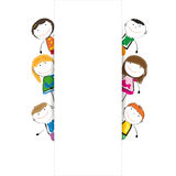 Banner kids. Small and smile kids with banner Royalty Free Stock Photos