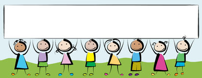 Banner kids. Children holding in her hands a white banner Royalty Free Stock Photos