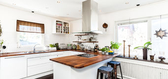 Banner with kitchen interior stock photo