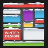 Banner, Knoop met de Vector van Sneeuwkappen Het Ontwerp van vakantiekerstmis Bevroren Effect Geïsoleerde Illustratie Royalty-vrije Illustratie