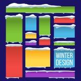 Banner, Knoop met de Vector van Sneeuwkappen Seizoengebonden Sneeuwvalachtergrond Bevroren Effect Geïsoleerde Illustratie Stock Illustratie