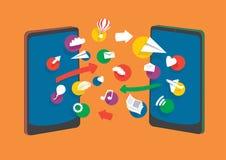 banner komunikacja jest globus telefonów komórkowych nagłówka ilustracyjną technologii Obrazy Stock
