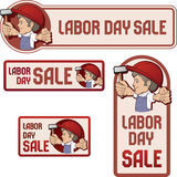 Banner  for Labor day sale. Cartoon style  worker in bib overall and hard hat keep  flag in rased hand  flag  with  Labor Day device.  vintage style in dull Stock Photo