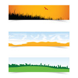 Banner with landscape icon set in color illustration Royalty Free Stock Photography