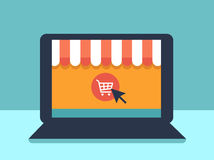 Banner with laptop. Page with online store open on laptop screen. Concept online shopping Stock Photos
