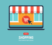 Banner with laptop. Page with online store open on laptop screen. Concept online shopping Stock Image